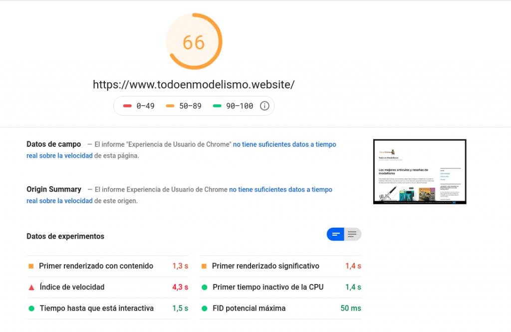 Captura de pantalla del PageSpeed para la versión desktop de Todoenmodelismo.website