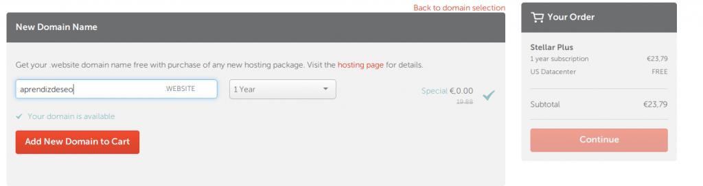 Pantalla para elegir dominio gratis en NameCheap
