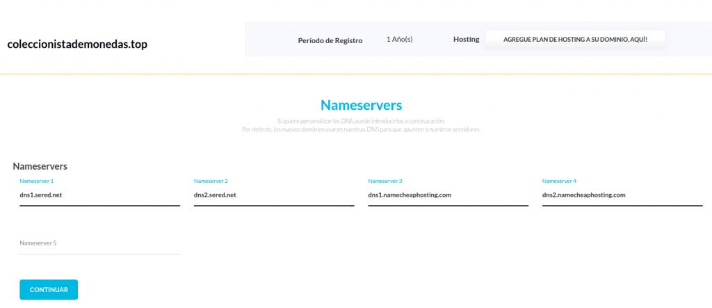 Pantalla de selección de Nameservers en sered.net