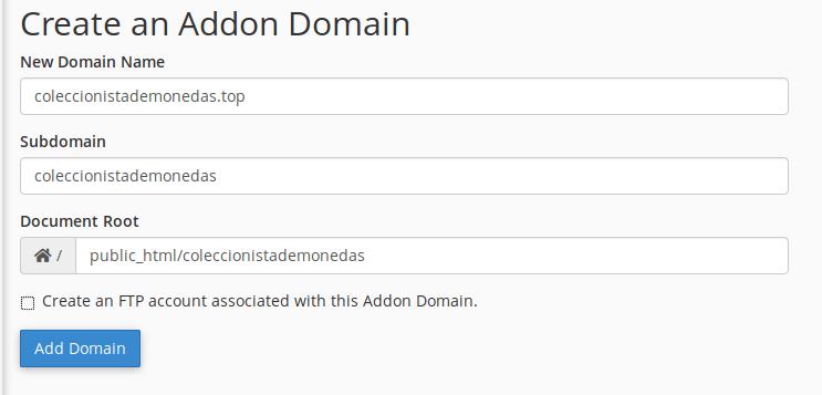 Vista para añadir un dominio nuevo en NameCheap