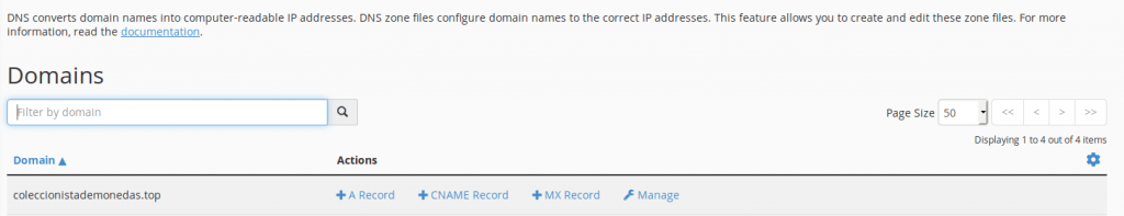 Vista del Zone editor de CPanel. Para añadir un registro TXT hemos de pulsar en Manage.