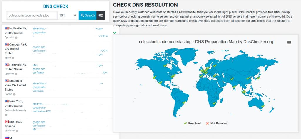 Imagen de la web DNSChecker.org cuando la información se ha propagado adecuadamente.
