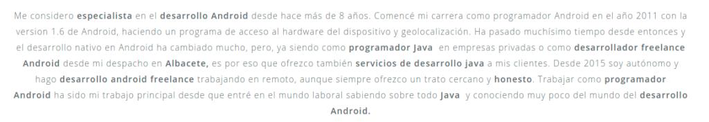 Captura de pantalla de un fragmento de la web Walkiria Apps donde intento posicionar varias palabras clave interesantes.