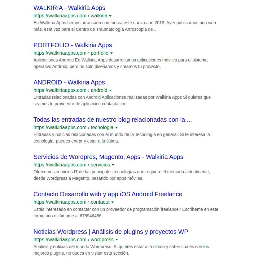 Captura de pantalla de los resultados de google tras escribir el comando site con el dominio de Walkiria Apps