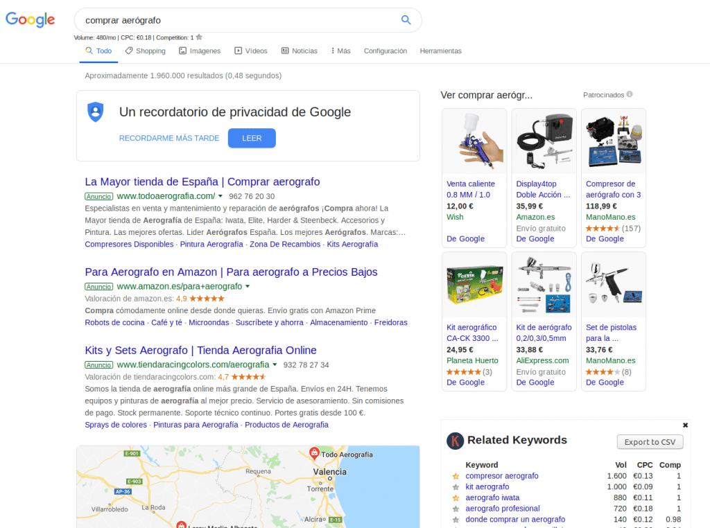 """Imagen de los resultados de búsqueda para """"comprar aerógrafo"""" en España"""