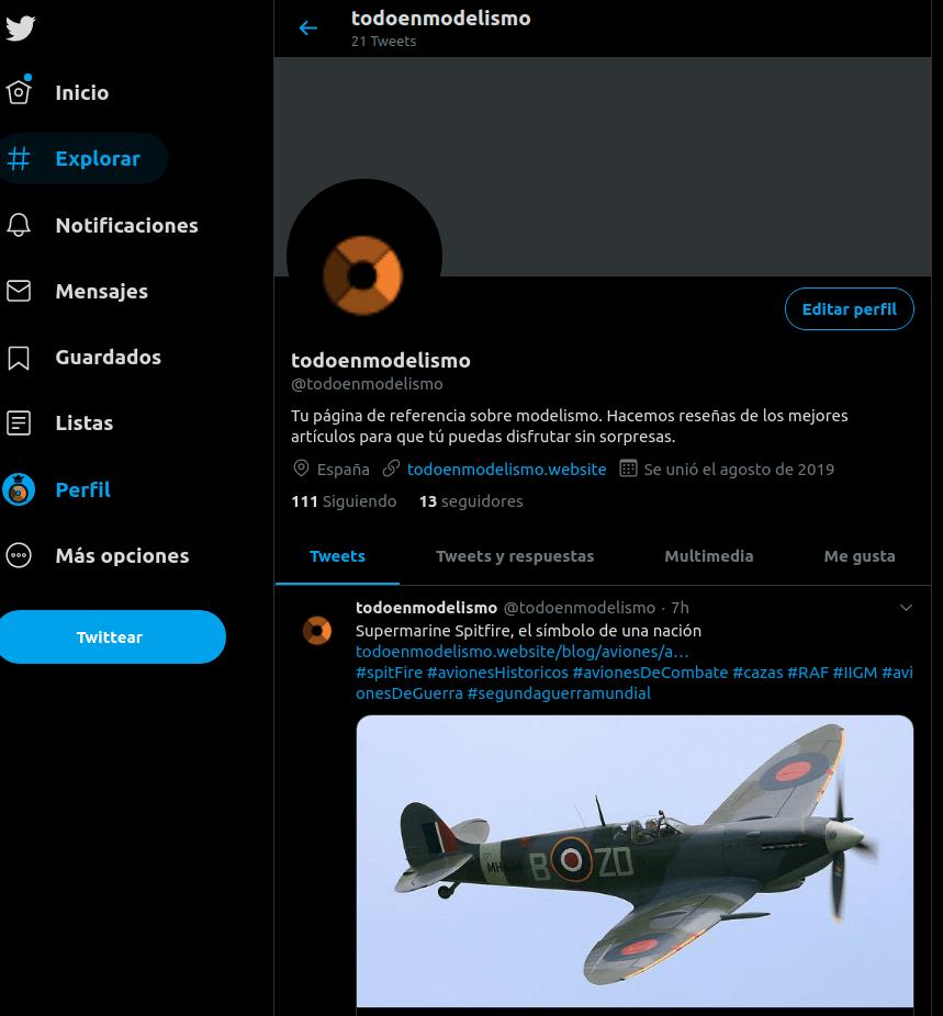 Captura de pantalla del perfil de todoenmodelismo.