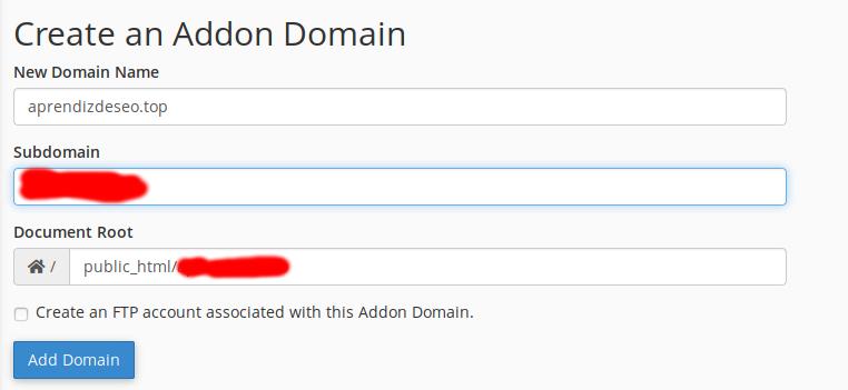 Cómo crear un addn domain para la migración de una web a otro hosting