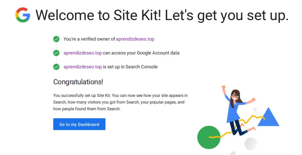 pantalla de resultado de site kit instalado correctamente