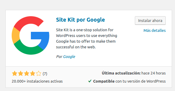 como instalar google site kit en wordpress